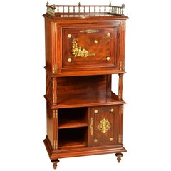 Cabinet with Writing Desk, Mahogany, Metal, 19th Century