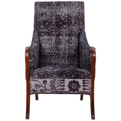 Armchair Upholstered with a Mid-20th Century Turkish Rug
