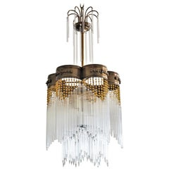 Italian Midcentury Glass and Faceted Crystal Rod Chandelier