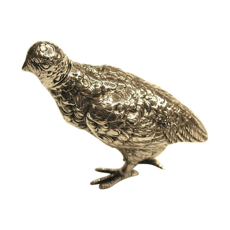 Smalle Kast Wit.Small Cast Silver Partridge With Detachable Head 1903 For Sale At