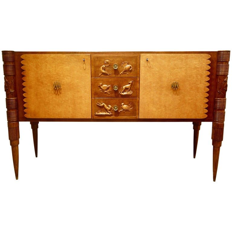 Italian Carved Two-Tone Wood Sideboard or Credenza by Pier Luigi Colli For Sale