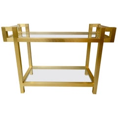Italian Gold Tone Bar Cart with Lucite Handles Attributed to Romeo Rega