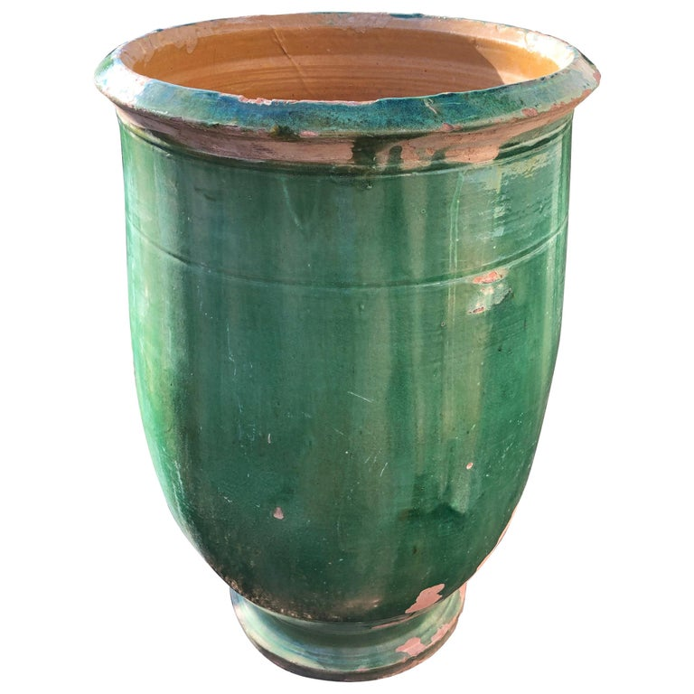 French 19th Century Green-Glazed Terracotta Pot from Apt For Sale