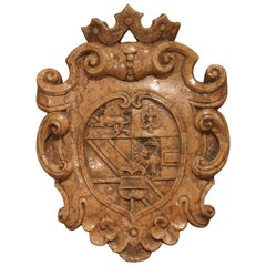Beautiful Rosso Verona Marble Coat of Arms Shield from Italy