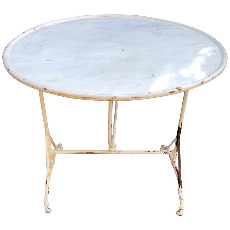 """Rare, Round French Tilt-Top Wine-Tasting """"Vendage"""" Table in Wrought Iron For Sale"""
