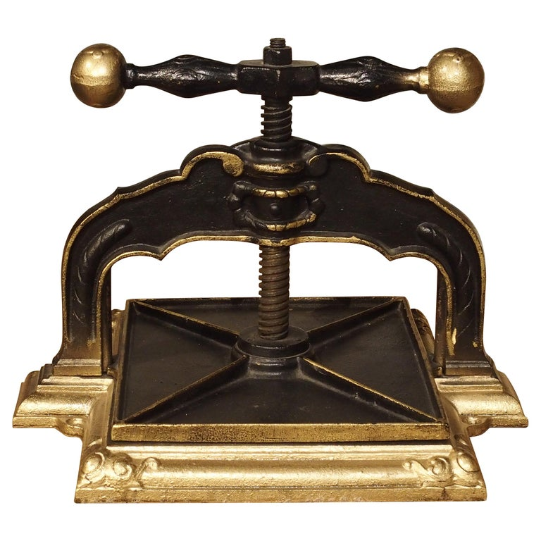 Painted Cast Iron Book Press from Germany, circa 1890 For Sale