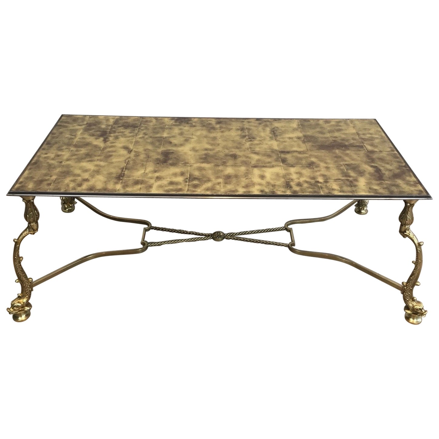 Rare Dolfins Neoclassical Brass Coffee Table with Beautiful Gold on Glass Top