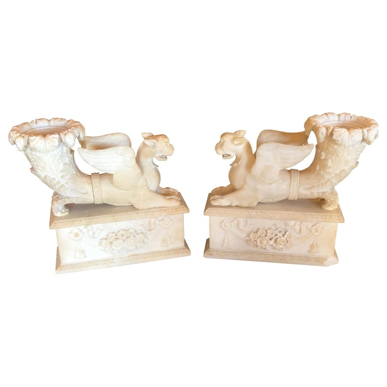 Pair of Alabaster 19th Century Seated Sphinxes on Pedestals Bookends or Statues For Sale
