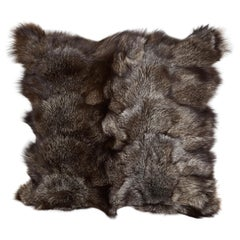 Luxe Genuine Fox Fur Pillows in Hues of Grey