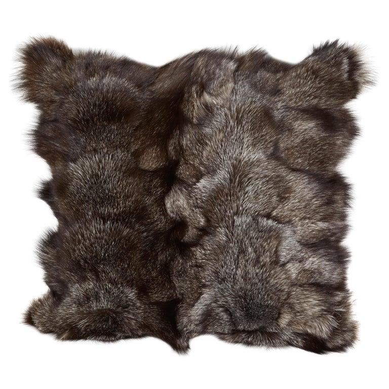 Luxe Genuine Fox Fur Pillows in Hues of Grey For Sale
