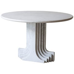 1970s White Marble Samo Table by Carlo Scapara