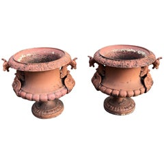 Pair of French Cast Iron Dragon Urns by Alfred Corneau in Old Red Paint