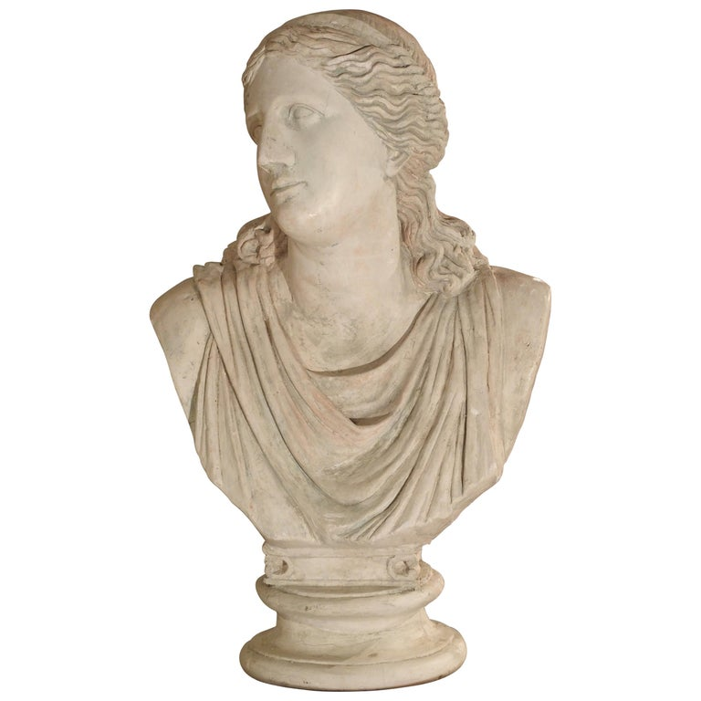 Large and Impressive 19th Century Plaster Bust of Niobe For Sale