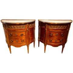 Pair of 19th Century Bronze Mounted French Demilune Commodes with Marble Tops