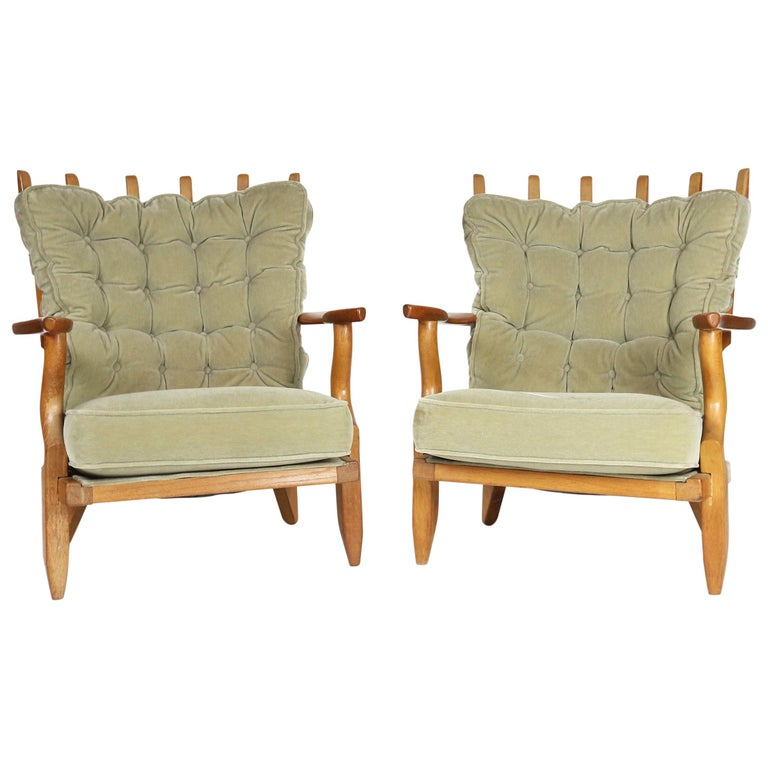 Guillerme et Chambron, Pair of Grand Repos Oak Armchairs Edition Votre Maison 1