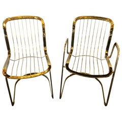 Willy Rizzo for Cidue 8 Dining Chairs Italian 1970s Brass Plated Metal Labelled