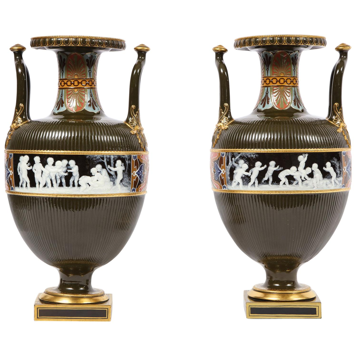 Pair of Mintons Pate Sur Pate Vases with Multi-Panel Neoclassical Subjects