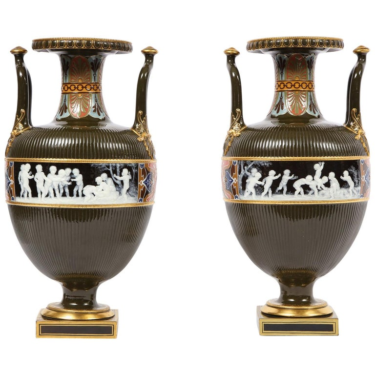 Pair of Mintons Pate Sur Pate Vases with Multi-Panel Neoclassical Subjects For Sale