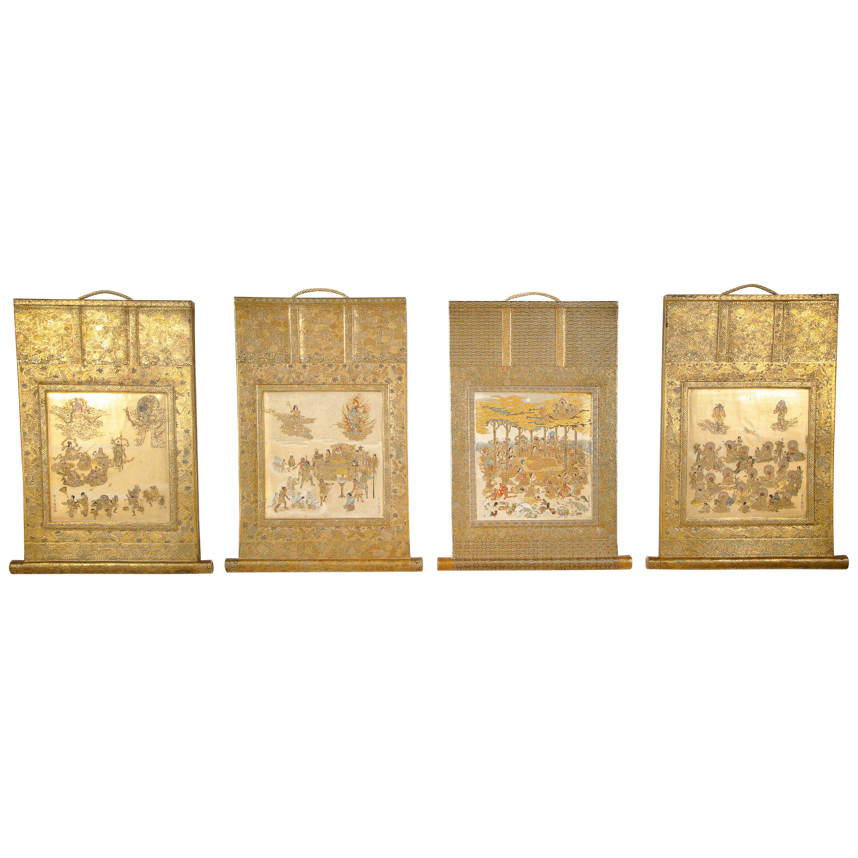 Rare Set of 4 Japanese Satsuma Plaques by Hododa, Meiji Period
