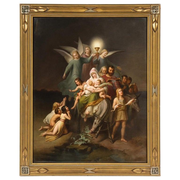 """Large KPM Porcelain Plaque of """"The Flight into Egypt"""" For Sale"""