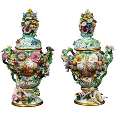Monumental Pair of Meissen Porcelain Pot-Pourri Vases, circa 1850