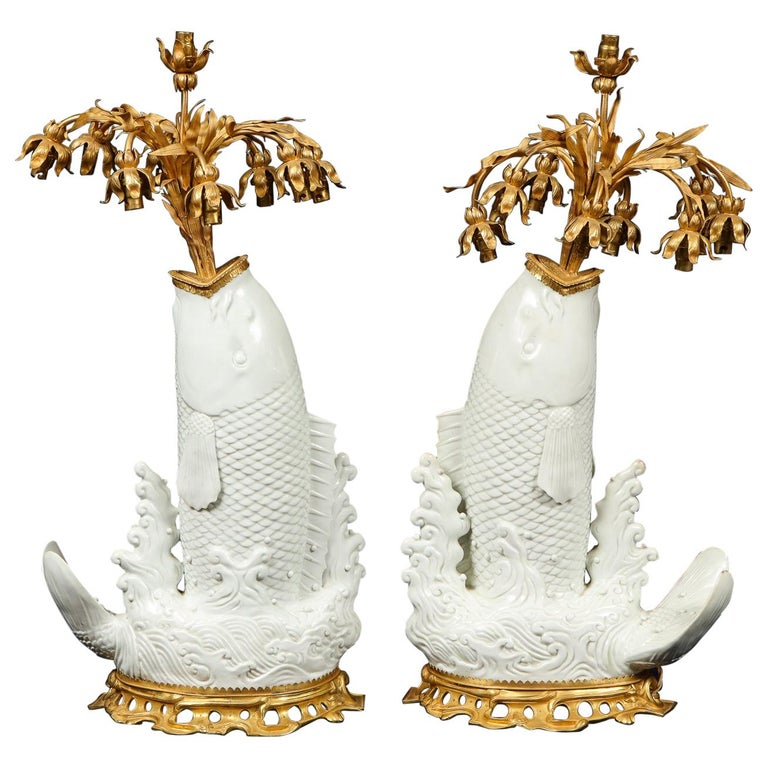 Antique Chinese Blanc de Chine Porcelain and Doré Bronze Mounted Fish Form Lamps For Sale