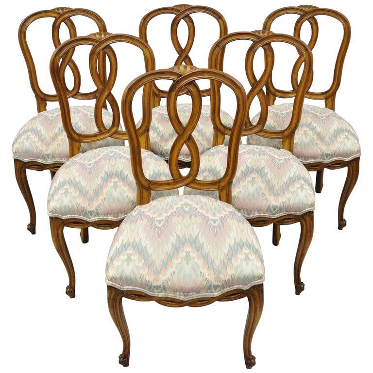 Set Of 6 French Provincial Style Pretzel Back Spiral Carved Dining Chairs For