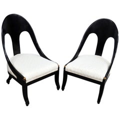 Pair of Modern Design Ebonized Club Chairs