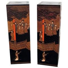 Pair of Ebonized Oriental Pedestals