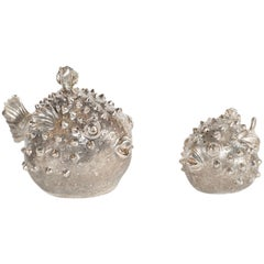 Handwrought Sterling Silver Puffer Fish Salt Shaker and Pepper Mill, Missiaglia