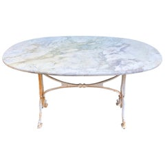 French Oval Marble-Topped Dining Table with Cast Iron Base