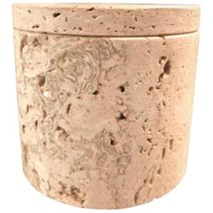 Fratelli Mannelli Travertine Cylindrical Lidded Box for Raymor