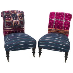Pair of English Slipper Chairs