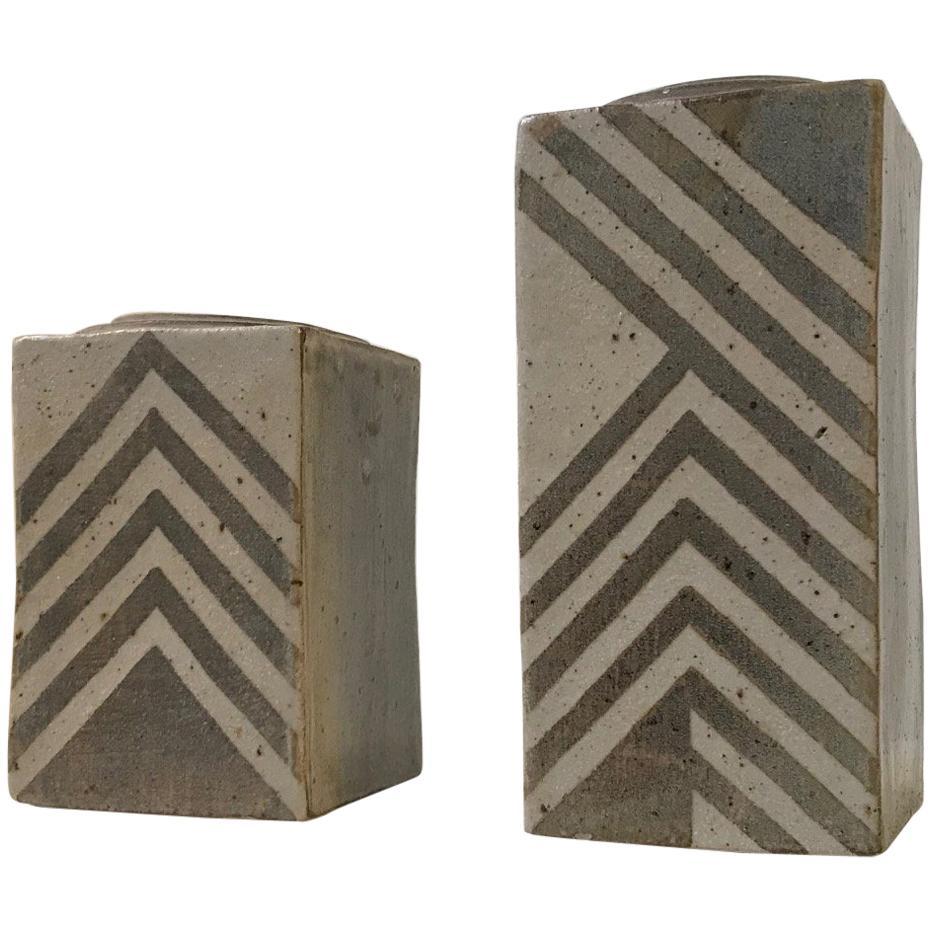 Unique Danish Geometric Stoneware Vases by Sten Børsting, 1990s, Set of 2