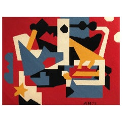 Large Needlepoint Picture after Stuart Davis Colonial Cubism Painting
