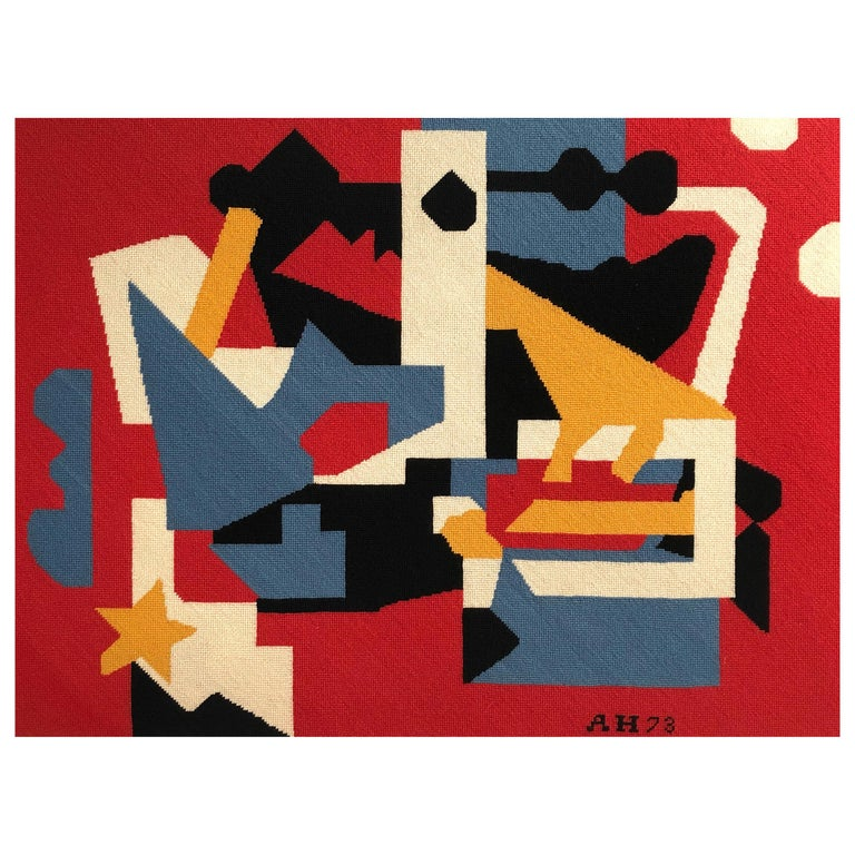 Large Needlepoint Picture after Stuart Davis Colonial Cubism Painting 1