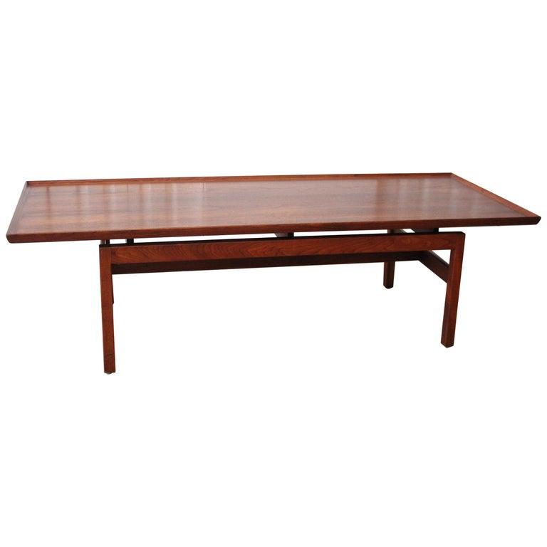 Jens Risom Walnut Coffee Table For Sale