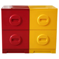 Mid-Century Modern Yellow Red Plastic Akro-Mils Filing Cabinet