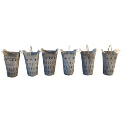 Three Pairs of French Perforated Zinc Florist Pots with Handles