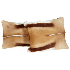 Pair of Luxury Fur Throw Pillows in Exotic African Springbok