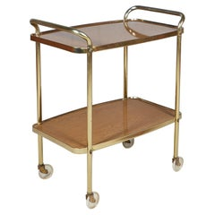 1960s Laminated Two-Shelf Rolling Serving Cart