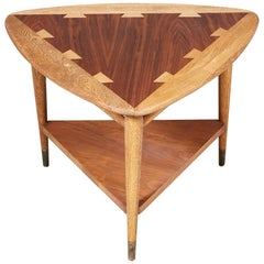 "1960s Lane Furniture Walnut ""Guitar Pick"" Side Table"