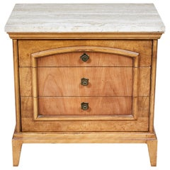 1960s Fruitwood Nightstand with Travertine Top