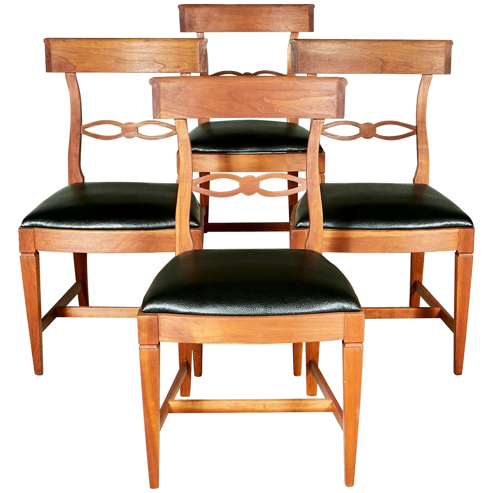 1950s Kindel Cherrywood Dining Room Chairs, Set Of 4