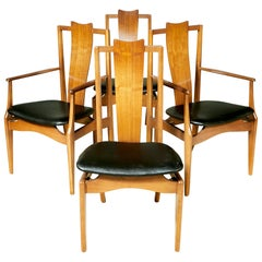 1960s Asian-Style Dining Room Chairs, Set of 4