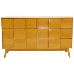 Six-Drawer Sculptura Dresser by Heywood Wakefield, Original Blonde Finish