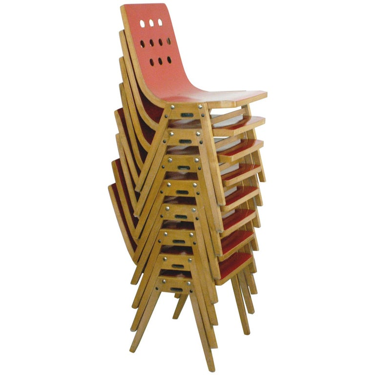 Set of Eight Red Austrian Midcentury Roland Rainer Stacking Chairs 1