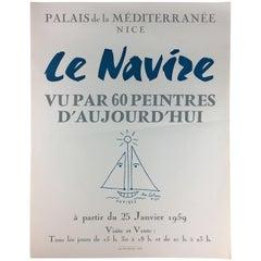 Original Midcentury Jean Cocteau Art Exhibition Poster, Dated 1959