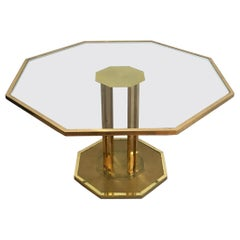 Rare Octagonal Brass and Glass Design Coffee Table, French, circa 1970