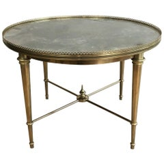 Maison Ramsay, Neoclassical Round Brass Coffee Table with Eglomized Glass Top